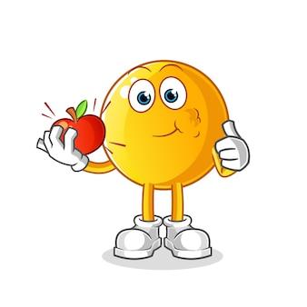 Emoticon die een karakter van de appelillustratie eet