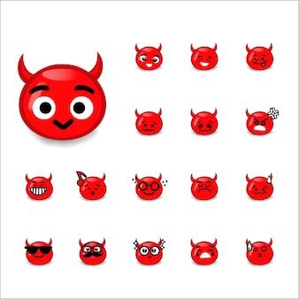 Emoticon duivel cartoon set