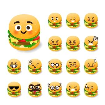 Emoticon hamburger cartoon set