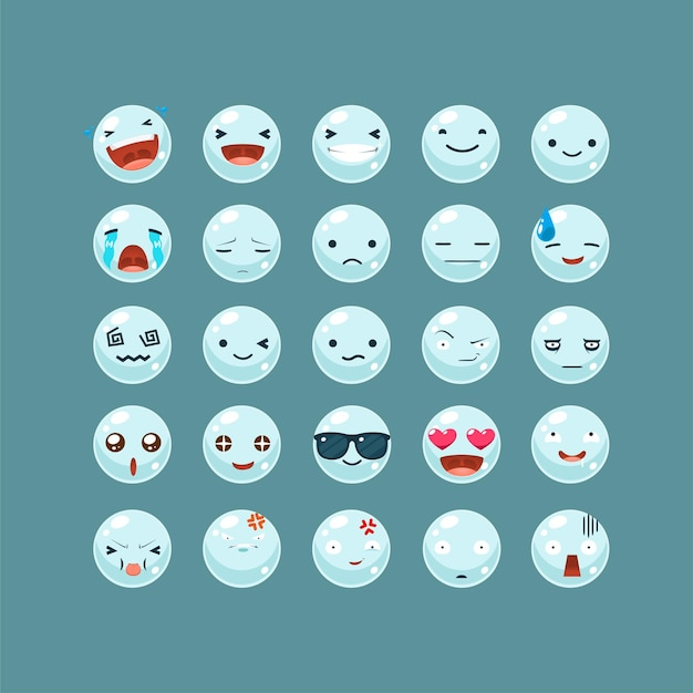 Emoticon set van de waterbel.