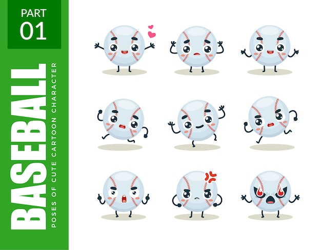 Emoticon set van honkbal. eerste set. vectorillustratie