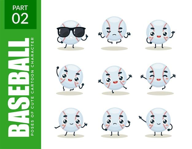 Emoticon set van honkbal. tweede reeks. vectorillustratie
