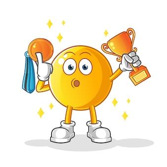 Emoticon winnaar met trofee en medaille illustratie