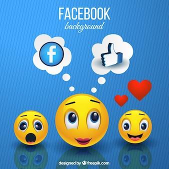 Emoticons achtergrond en facebook symbolen