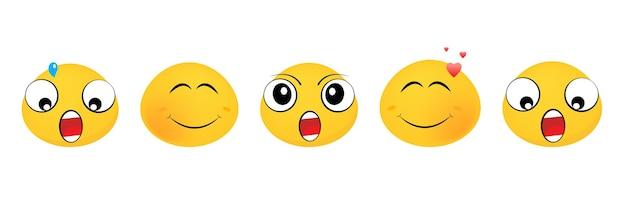 Emoticons illustraties in plat ontwerp