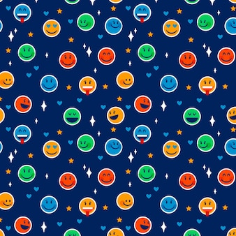 Emoticons patroon sjabloon op blauwe achtergrond
