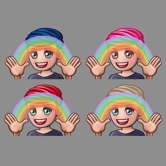 Emotie pictogrammen gelukkig man met regenboog voor sociale netwerken en stickers