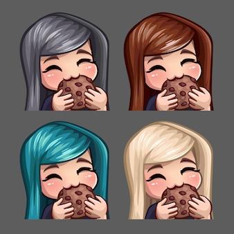 Emotie pictogrammen gelukkige vrouw eet koekje met lange haren voor sociale netwerken en stickers