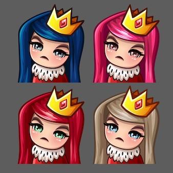 Emotie pictogrammen koningin vrouw met lange haren voor sociale netwerken en stickers