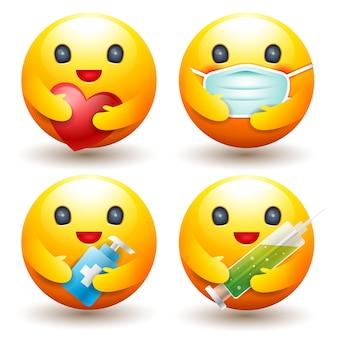 Emotie vastgesteld pictogram, bescherm ziekteconcept, zorg, masker, teken en symbool.