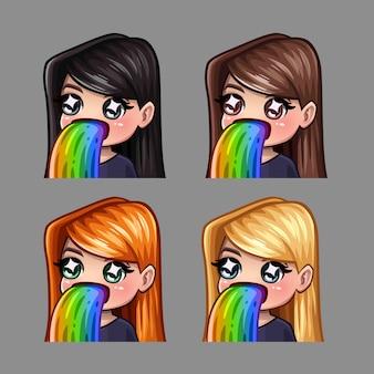 Emotiepictogrammen gelukkig meisje met regenboog voor sociale netwerken en stickers