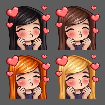 Emotiepictogrammen gelukkige vrouwelijke kussen met lange haren voor sociale netwerken en stickers