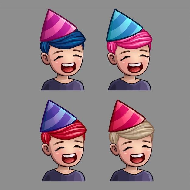 Emotiepictogrammen happy party man voor sociale netwerken en stickers