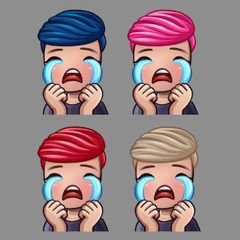 Emotiepictogrammen huilen mannelijk voor sociale netwerken en stickers