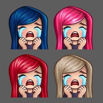Emotiepictogrammen huilende vrouw met lange haren voor sociale netwerken en stickers