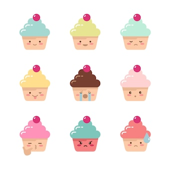 Emoties cupcakes set