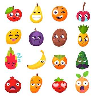 Emoties fruitkarakters geïsoleerde vector