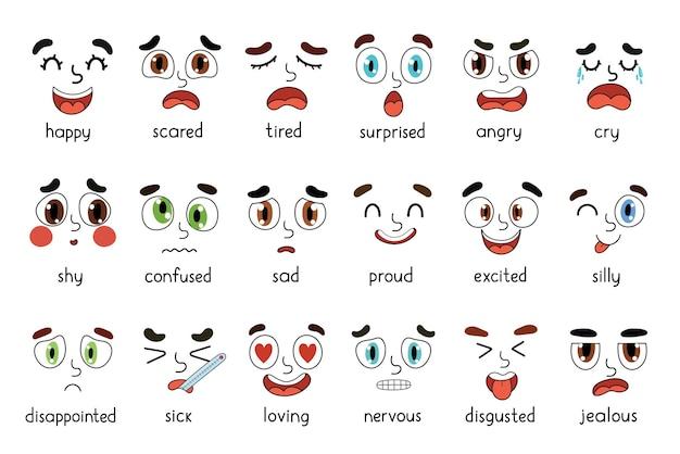 Emoties gezichten set verschillende emotionele uitdrukkingen bundel leergevoel met ogen en monden
