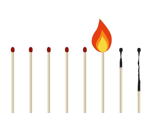 Emotioneel burn-outconcept brandende lucifers geïsoleerd emotioneel probleem abstract concept