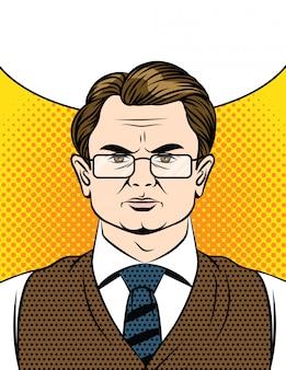Emotioneel gezicht van een man in bril en pak