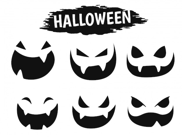 Emotioneel gezichtspictogram die een verscheidenheid van schaduwen tonen tijdens het halloween-seizoen.