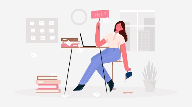 Emotionele burn-out vrouw, moe van de enorme hoeveelheid werk, zittend op haar werkplek met laptop op kantoor en houdt het bordje help vast. deadline, stress, depressie op het werk.