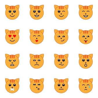 Emotionele kat gezicht icons set