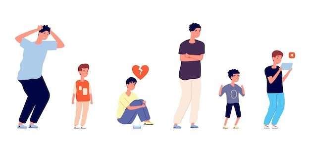 Emotionele mannelijke karakters. verschillende leeftijden mannen, geïsoleerde trieste jongen tieners en volwassen. huilend klein kind, depressieve man vectorillustratie. bezorgde mensen, persoon jonge emotie wanhoop