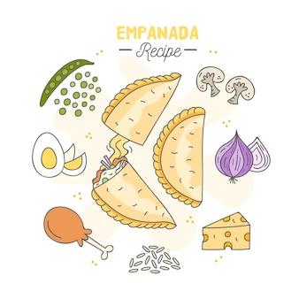 Empadana-recept met gekookt ei en groenten