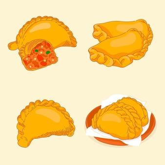 Empanada collectie illustratie concept