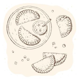 Empanada illustratie concept