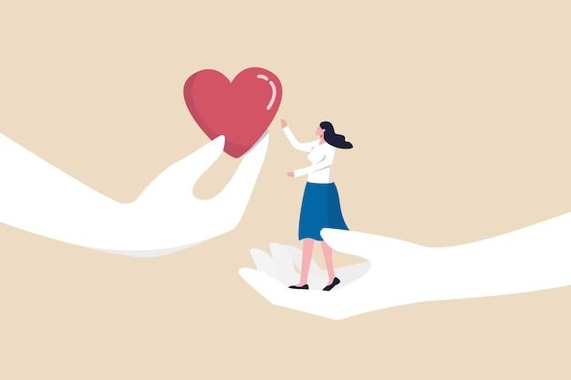 Empathie of sympathie begrip en gevoel delen met anderen, ondersteuning of hulp gemeenschap, vriendelijkheid en mededogen concept, ondersteunende hand dragen tegenslag depressieve vrouw en hartvorm geven.