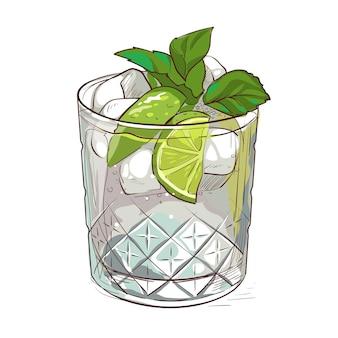 En getekende mojito-cocktail met ijsmunt en limoen