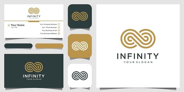 Endless infinity loop met lijntekeningen stijlsymbool, conceptuele special. visitekaartje