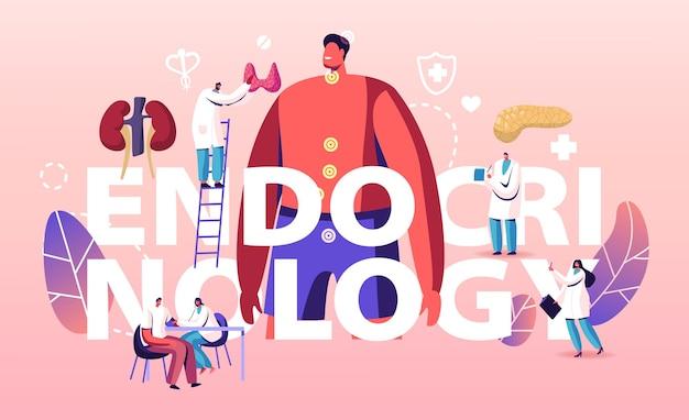 Endocrinologie, hormoonziekten en disbalans concept. cartoon vlakke afbeelding