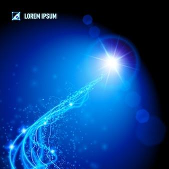 Energie afkomstig van een verre blauwe ster Premium Vector