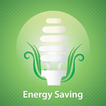 Energie - besparings gloeilamp op groene achtergrond