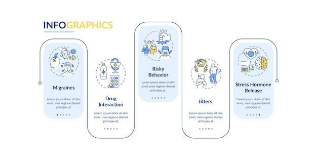 Energie dranken gezondheidseffecten infographic sjabloon