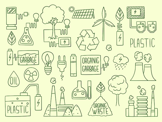 Energie. elektriciteit aard batterij recycleren elementen fabriek productie water energie wereldbol brandstofproductie. elektrische hernieuwbare, milieuvriendelijke alternatieve energie-illustratie