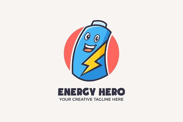 Energie held supermacht mascotte karakter logo sjabloon