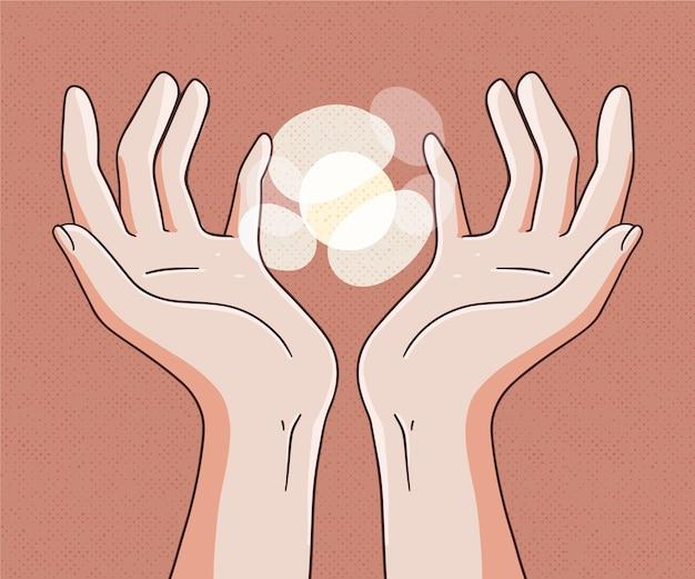 Energie helende handen hand getrokken stijl