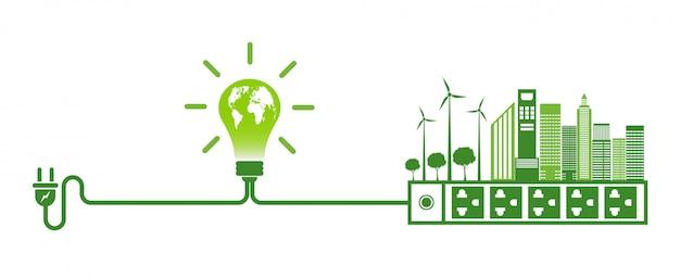 Energie-ideeën redden het wereldconcept power plug green ecology