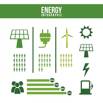Energie infographics over witte achtergrond
