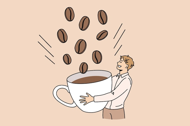 Energie koffie drinken ontbijt concept. jonge lachende man stripfiguur staande enorme koffiebonen plukken tot cup vectorillustratie