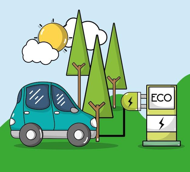 Energie-oplaadstation met elektrische auto