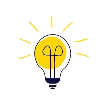 Energie, oplossing, idee, denkconcept, symbool. eenvoudig object geïsoleerd op een witte achtergrond. platte vectorillustratie.