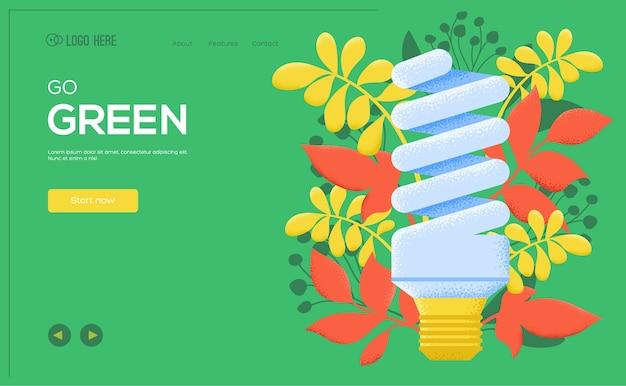Energiebesparende ui-koptekst, site invoeren, banner. ga voor groen