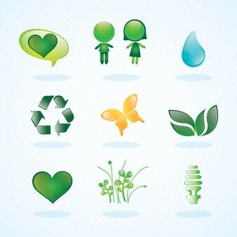 Energiebesparing prachtige glanzende pictogrammen