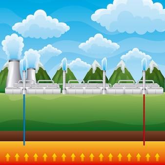Energiecentrale geothermische landschap bergen