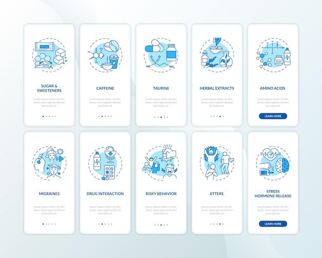 Energiedrankcomponenten en gevaren onboarding mobiele app-paginascherm met ingestelde concepten